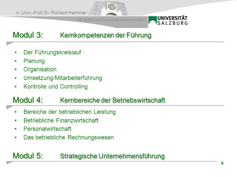 o. Univ.-Prof. Dr. Richard Hammer FB Sozial- und Wirtschaftswissenschaften Modul 3: Kernkompetenzen der Führung Der Führungskreislauf Planung Organisa