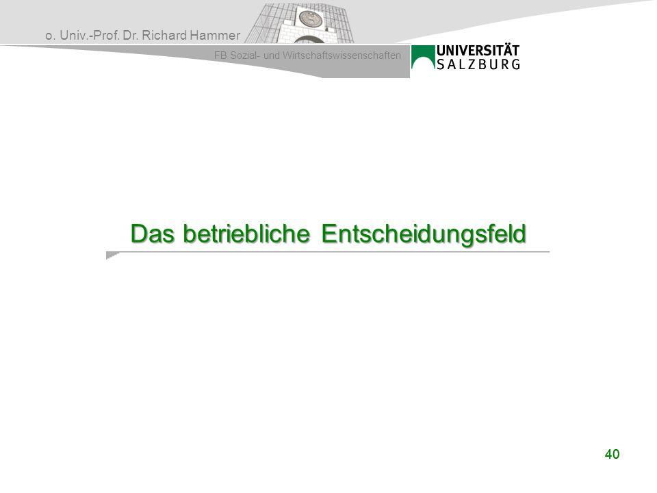 o. Univ.-Prof. Dr. Richard Hammer FB Sozial- und Wirtschaftswissenschaften 40 Das betriebliche Entscheidungsfeld