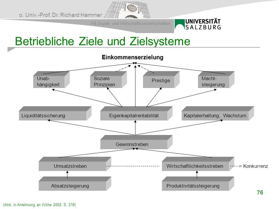 o. Univ.-Prof. Dr. Richard Hammer FB Sozial- und Wirtschaftswissenschaften 76 Betriebliche Ziele und Zielsysteme Einkommenserzielung Einkommenserzielu