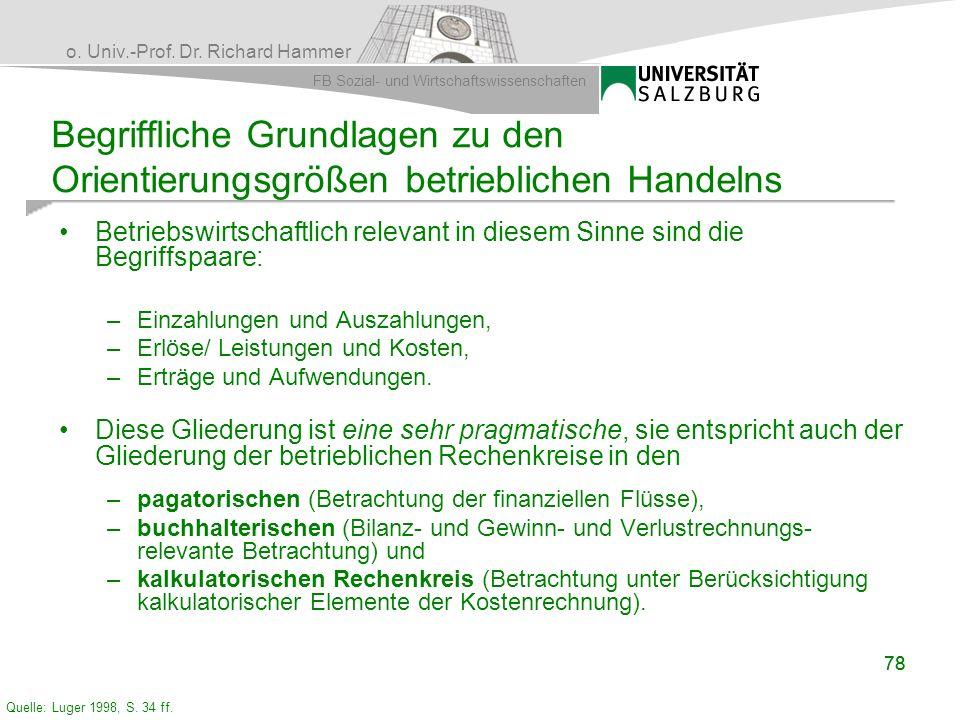 o. Univ.-Prof. Dr. Richard Hammer FB Sozial- und Wirtschaftswissenschaften 78 Begriffliche Grundlagen zu den Orientierungsgrößen betrieblichen Handeln