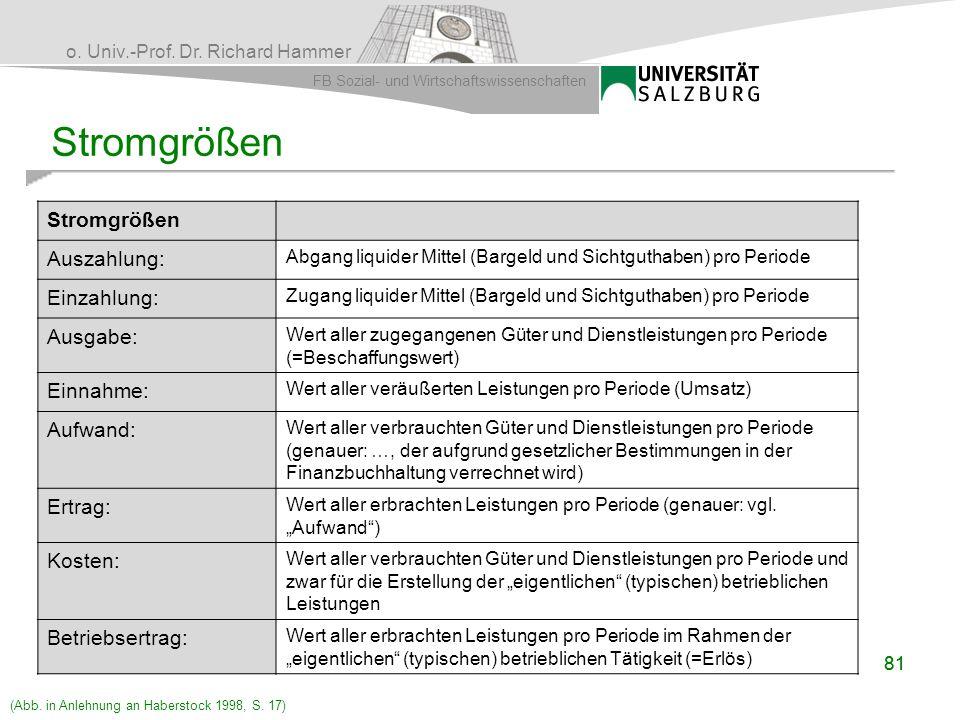 o. Univ.-Prof. Dr. Richard Hammer FB Sozial- und Wirtschaftswissenschaften 81 Stromgrößen Auszahlung: Abgang liquider Mittel (Bargeld und Sichtguthabe