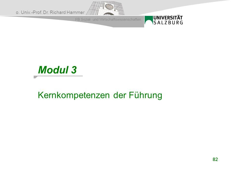 o. Univ.-Prof. Dr. Richard Hammer FB Sozial- und Wirtschaftswissenschaften 82 Modul 3 Kernkompetenzen der Führung