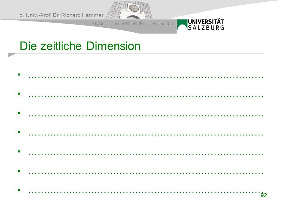 o. Univ.-Prof. Dr. Richard Hammer FB Sozial- und Wirtschaftswissenschaften 92 Die zeitliche Dimension …………………………………………………………………