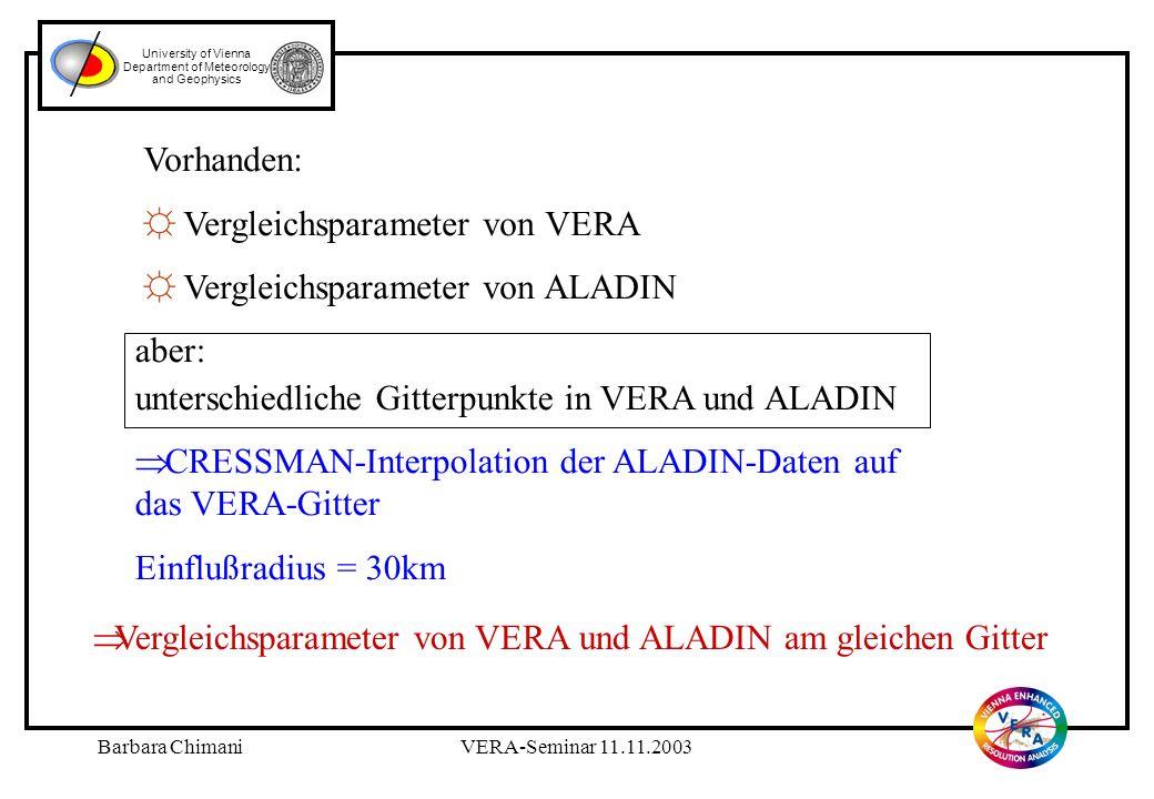 Barbara ChimaniVERA-Seminar 11.11.2003 University of Vienna Department of Meteorology and Geophysics aber: unterschiedliche Gitterpunkte in VERA und ALADIN CRESSMAN-Interpolation der ALADIN-Daten auf das VERA-Gitter Einflußradius = 30km Vorhanden: Vergleichsparameter von VERA Vergleichsparameter von ALADIN Vergleichsparameter von VERA und ALADIN am gleichen Gitter