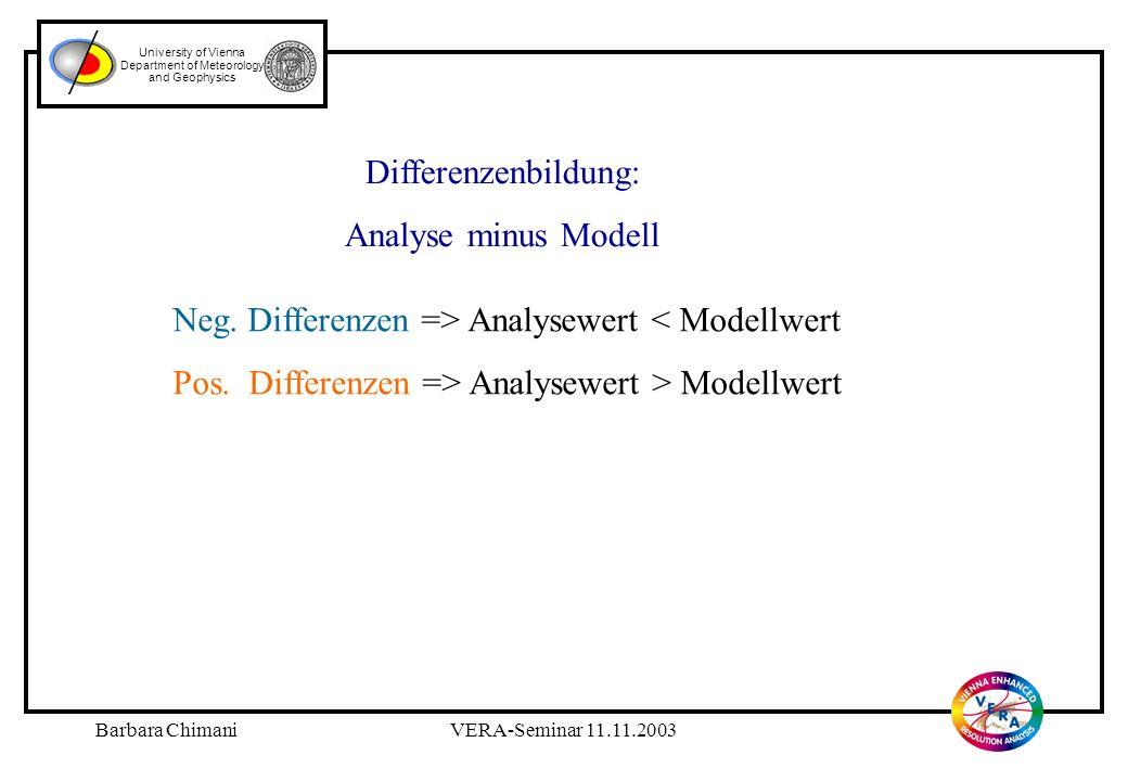 Barbara ChimaniVERA-Seminar 11.11.2003 University of Vienna Department of Meteorology and Geophysics Modellvergleich ALADIN - VERA Modellvergleich ALADIN - VERA
