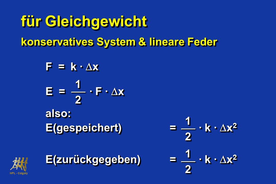 für Gleichgewicht konservatives System & lineare Feder für Gleichgewicht konservatives System & lineare Feder F = k · x E = · F · x also: E(gespeicher