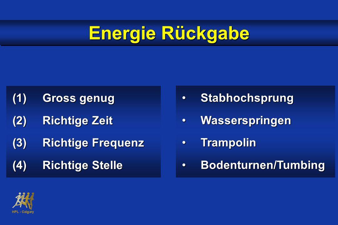 (1)Gross genug (2)Richtige Zeit (3)Richtige Frequenz (4)Richtige Stelle Energie Rückgabe StabhochsprungStabhochsprung WasserspringenWasserspringen Tra