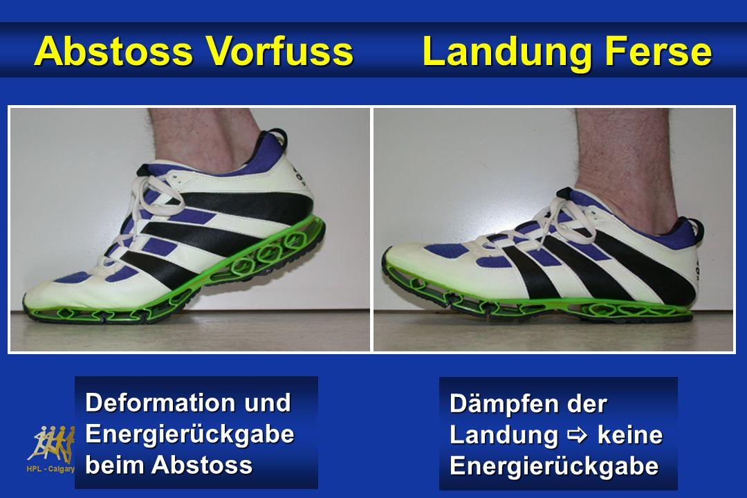 Abstoss Vorfuss Landung Ferse Dämpfen der Landung keine Energierückgabe Deformation und Energierückgabe beim Abstoss