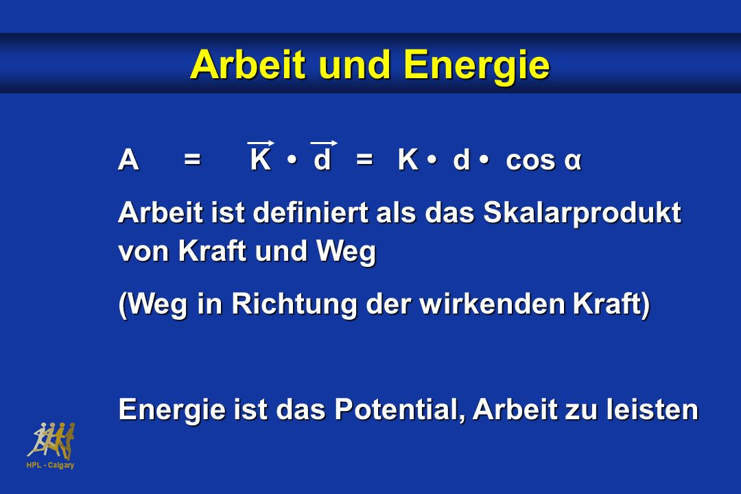 Arbeit und Energie A=K d = K d cos α Arbeit ist definiert als das Skalarprodukt von Kraft und Weg (Weg in Richtung der wirkenden Kraft) Energie ist da