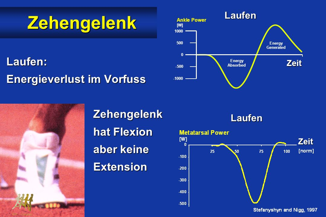 Zehengelenk Laufen: Energieverlust im Vorfuss Zehengelenk hat Flexion aber keine Extension Running Ankle Power [W] 1000 500 0 - -1000 Energy Absorbed Energy Generated Normalized Time Laufen Laufen Zeit Zeit Zeit