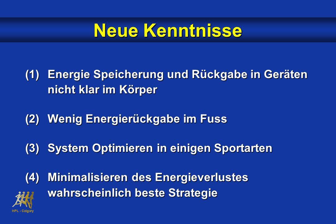 Neue Kenntnisse (1)Energie Speicherung und Rückgabe in Geräten nicht klar im Körper (2)Wenig Energierückgabe im Fuss (3)System Optimieren in einigen S