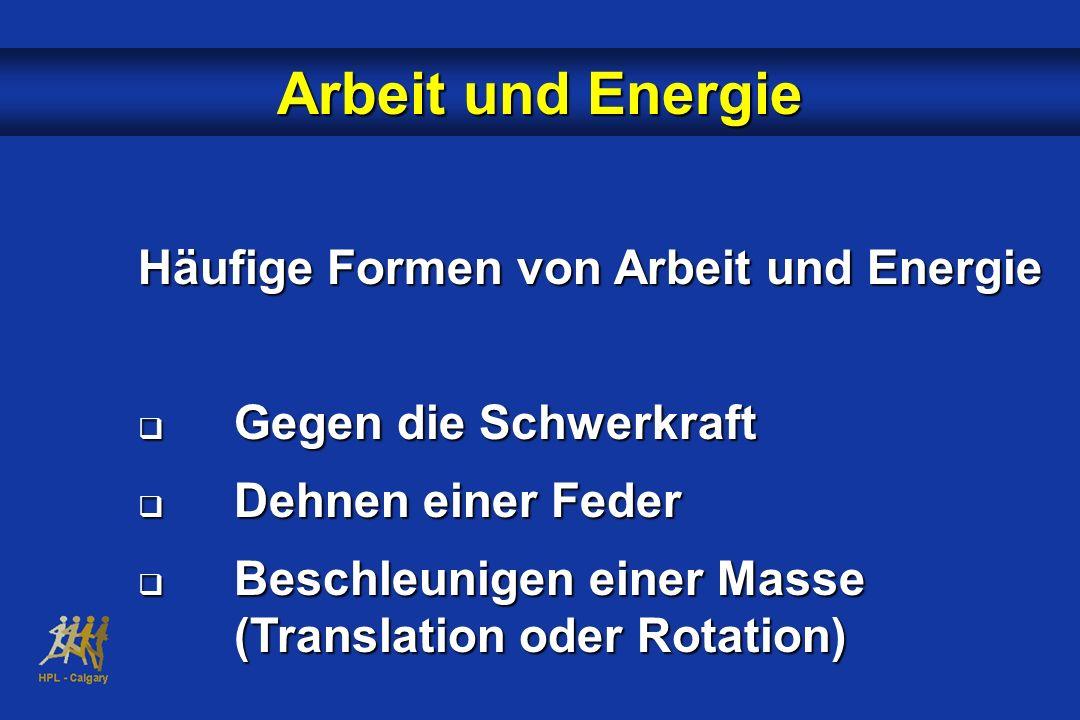 Häufige Formen von Arbeit und Energie Gegen die Schwerkraft Gegen die Schwerkraft Dehnen einer Feder Dehnen einer Feder Beschleunigen einer Masse (Tra