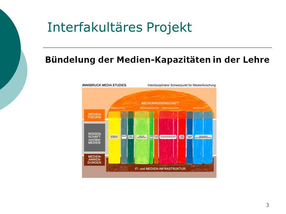 3 Interfakultäres Projekt Bündelung der Medien-Kapazitäten in der Lehre
