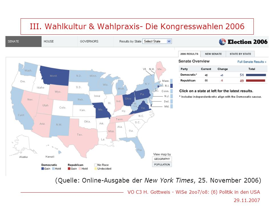 VO C3 H. Gottweis - WiSe 2oo 7 /o 8 : ( 6 ) Politik in den USA 29.11.2007 III.