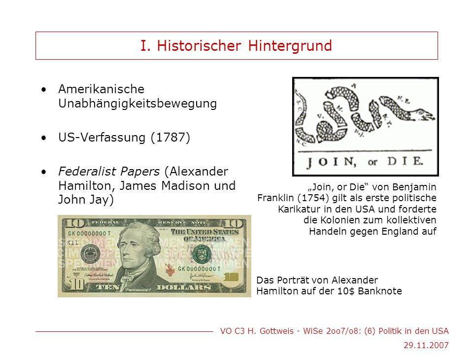 VO C3 H. Gottweis - WiSe 2oo 7 /o 8 : ( 6 ) Politik in den USA 29.11.2007 I.