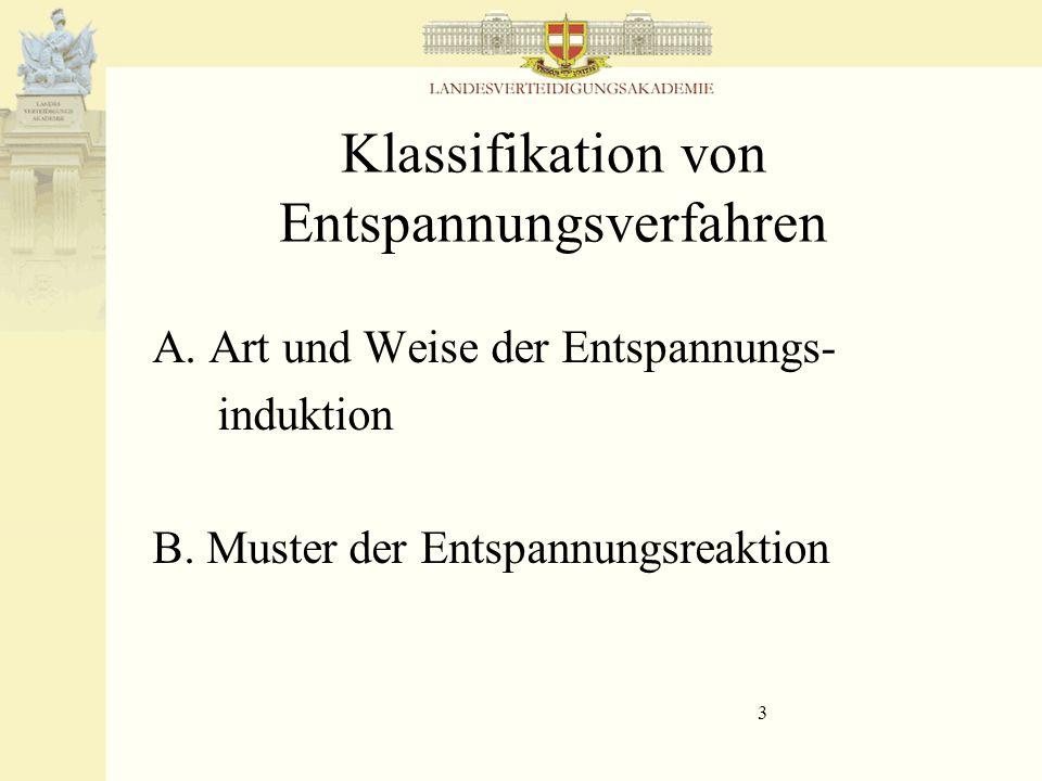 3 Klassifikation von Entspannungsverfahren A. Art und Weise der Entspannungs- induktion B. Muster der Entspannungsreaktion