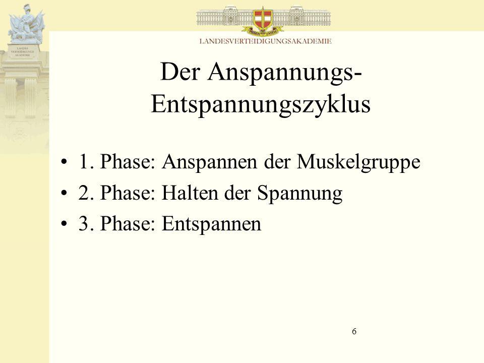 6 Der Anspannungs- Entspannungszyklus 1. Phase: Anspannen der Muskelgruppe 2. Phase: Halten der Spannung 3. Phase: Entspannen