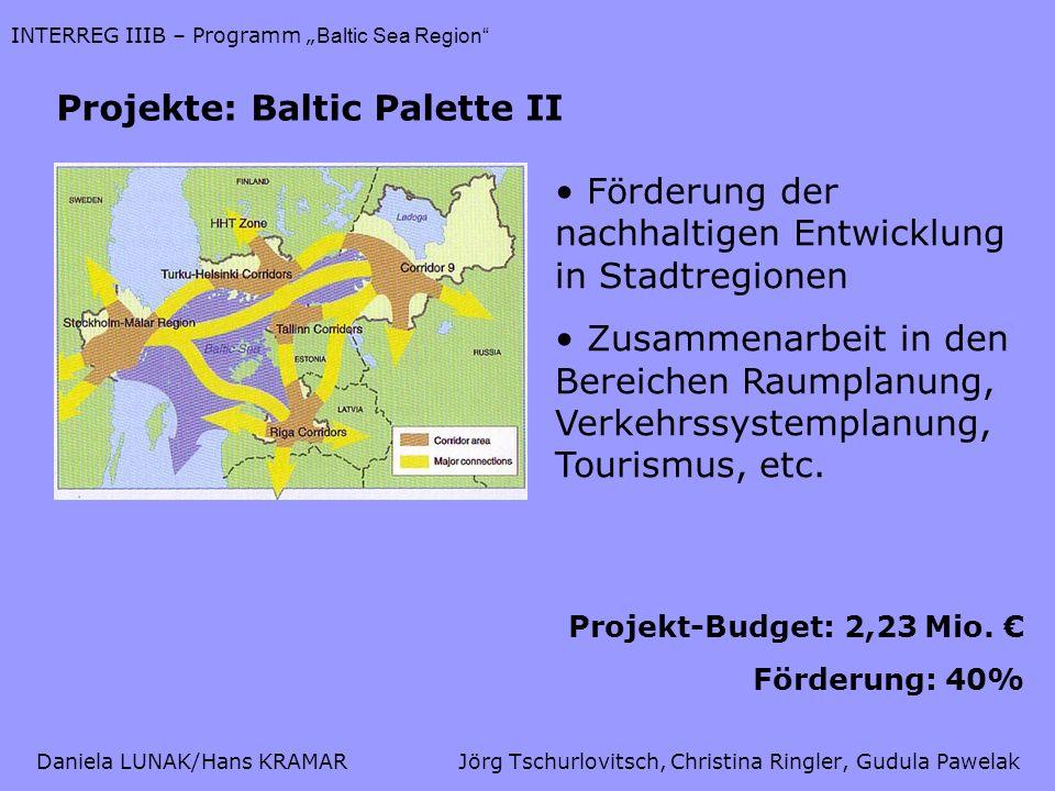 Daniela LUNAK/Hans KRAMARJörg Tschurlovitsch, Christina Ringler, Gudula Pawelak INTERREG IIIB – Programm Baltic Sea Region Projekte: Baltic Palette II