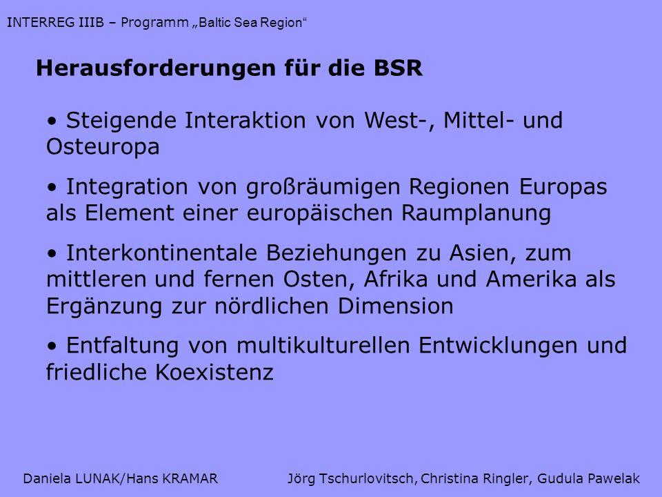 Daniela LUNAK/Hans KRAMARJörg Tschurlovitsch, Christina Ringler, Gudula Pawelak INTERREG IIIB – Programm Baltic Sea Region Quellen JOINT SECRETARIAT: The Balitc Sea Region INTERREG IIIB Neighbourhood Programme, Projects in progress (2001-2005), Mai 2004 JOINT SECRETARIAT: The Balitc Sea Region INTERREG IIIB Neighbourhood Programme, Projects in progress (2003-2006) 2 nd edition, November 2004 EUROPEAN COMMISSION: Baltic Sea Region INTERREG III B Neighbourhood Programme 2000 – 2006, August 2004 PowerPoint-Präsentation des BSR INTERREG III B Joint Secretariat, Juni 2005 Hans Kramar: Unterlagen zur VO Europäische Regionalentwicklung, www.srf.tuwien.ac.at/lva/Rp.EU/eu.html, WS 04/05 www.srf.tuwien.ac.at/lva/Rp.EU/eu.html http://europa.eu.inthttp://europa.eu.int, 2005-05-22 http://www.bsrinterreg.nethttp://www.bsrinterreg.net, 2005-05-19 http://www.spatial.baltic.nethttp://www.spatial.baltic.net, 2005-05-19 http://europa.eu.int/comm/regional_policy/interreg3/index_de.htmhttp://europa.eu.int/comm/regional_policy/interreg3/index_de.htm, 2005-05-22 http://www.berlin.de/rbmskzl/europa/foerderprogramme/interreg.htmlhttp://www.berlin.de/rbmskzl/europa/foerderprogramme/interreg.html, 2005-05-22