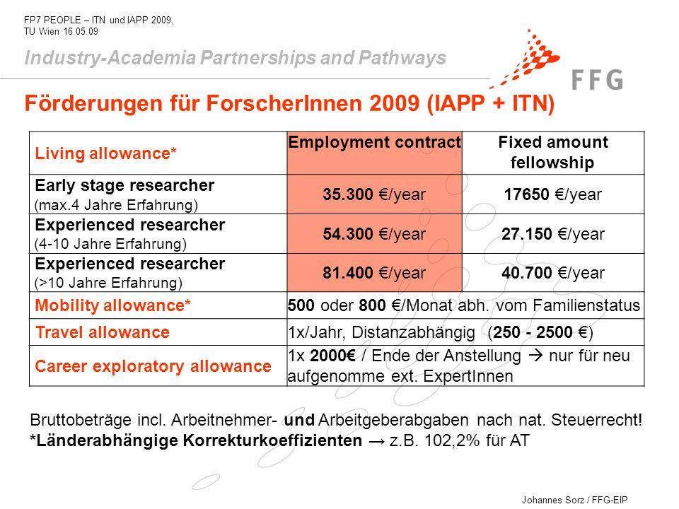Johannes Sorz / FFG-EIP FP7 PEOPLE – ITN und IAPP 2009, TU Wien 16.05.09 Industry-Academia Partnerships and Pathways Bruttobeträge incl. Arbeitnehmer-
