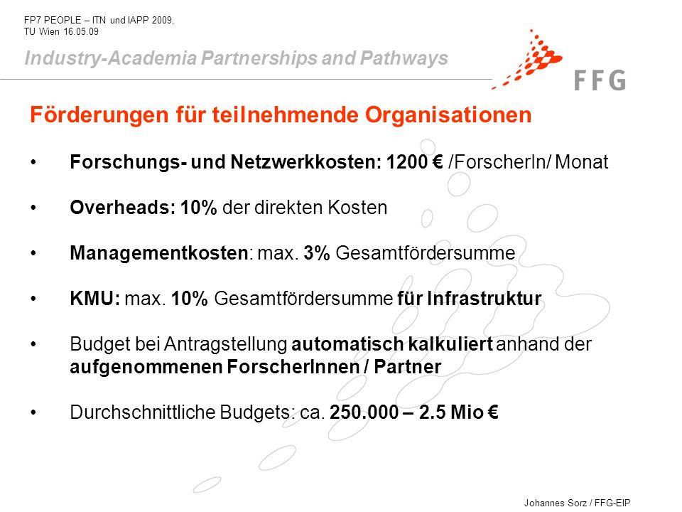Johannes Sorz / FFG-EIP FP7 PEOPLE – ITN und IAPP 2009, TU Wien 16.05.09 Industry-Academia Partnerships and Pathways Förderungen für teilnehmende Orga