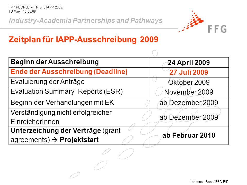 Johannes Sorz / FFG-EIP FP7 PEOPLE – ITN und IAPP 2009, TU Wien 16.05.09 Industry-Academia Partnerships and Pathways Zeitplan für IAPP-Ausschreibung 2
