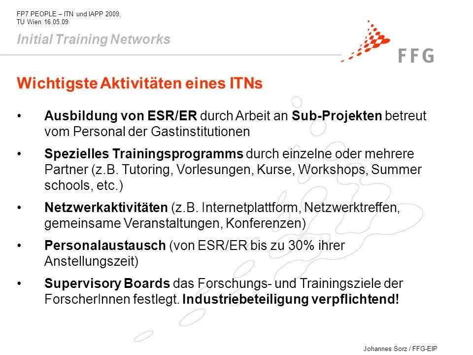 Johannes Sorz / FFG-EIP FP7 PEOPLE – ITN und IAPP 2009, TU Wien 16.05.09 Wichtigste Aktivitäten eines ITNs Ausbildung von ESR/ER durch Arbeit an Sub-P