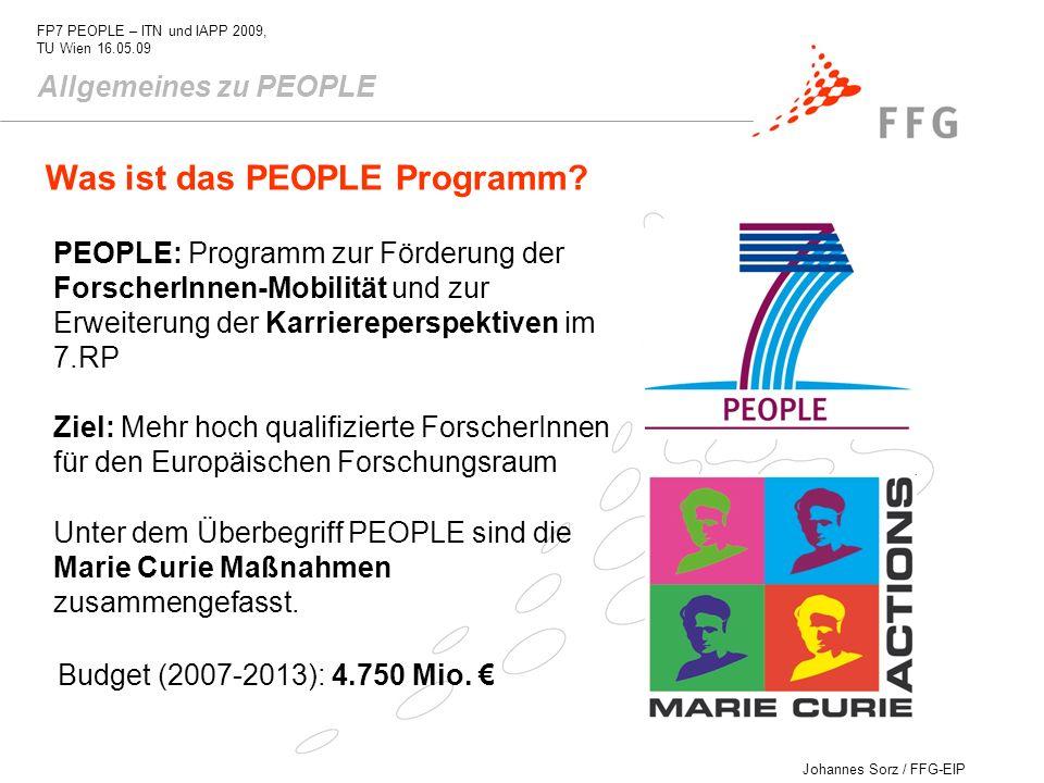 Johannes Sorz / FFG-EIP FP7 PEOPLE – ITN und IAPP 2009, TU Wien 16.05.09 Allgemeines zu PEOPLE Was ist das PEOPLE Programm? PEOPLE: Programm zur Förde