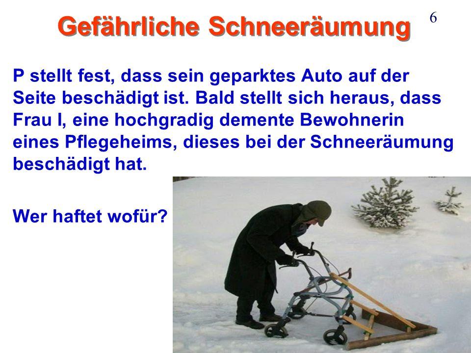 Ganner 6 Gefährliche Schneeräumung P stellt fest, dass sein geparktes Auto auf der Seite beschädigt ist.