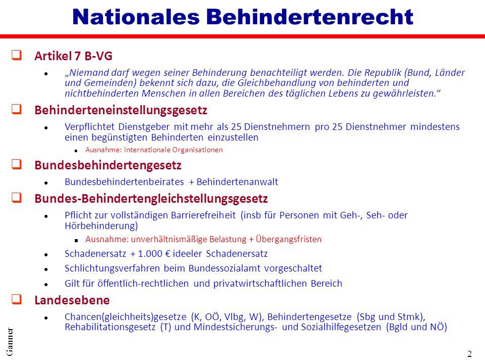 2 Ganner Nationales Behindertenrecht qArtikel 7 B-VG lNiemand darf wegen seiner Behinderung benachteiligt werden. Die Republik (Bund, Länder und Gemei