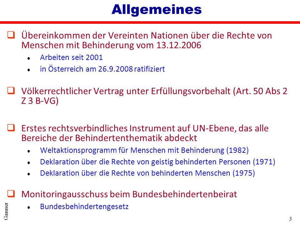 3 Ganner Allgemeines qÜbereinkommen der Vereinten Nationen über die Rechte von Menschen mit Behinderung vom 13.12.2006 l Arbeiten seit 2001 l in Öster