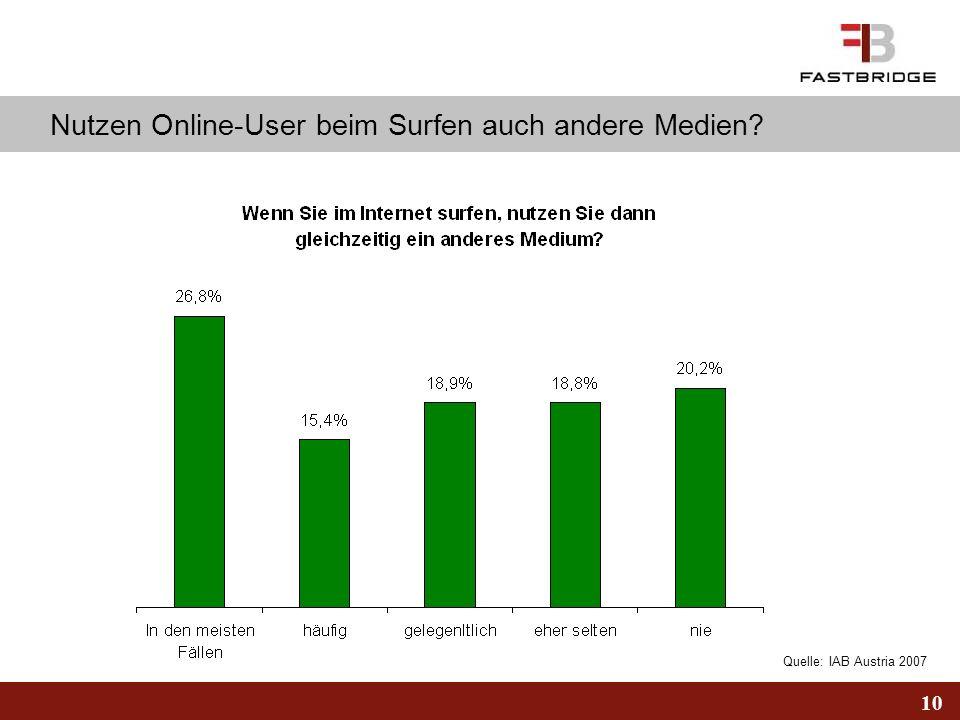 10 Quelle: IAB Austria 2007 Nutzen Online-User beim Surfen auch andere Medien?