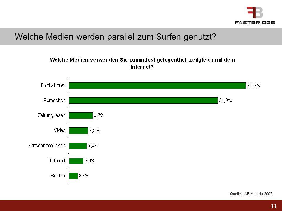 11 Quelle: IAB Austria 2007 Welche Medien werden parallel zum Surfen genutzt?