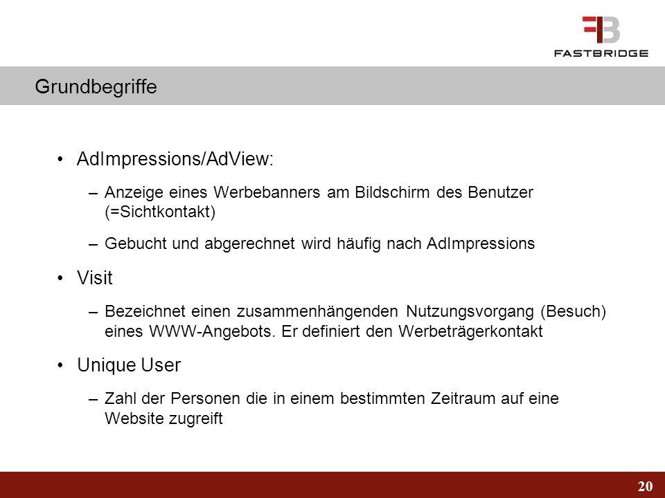 20 Grundbegriffe AdImpressions/AdView: –Anzeige eines Werbebanners am Bildschirm des Benutzer (=Sichtkontakt) –Gebucht und abgerechnet wird häufig nac