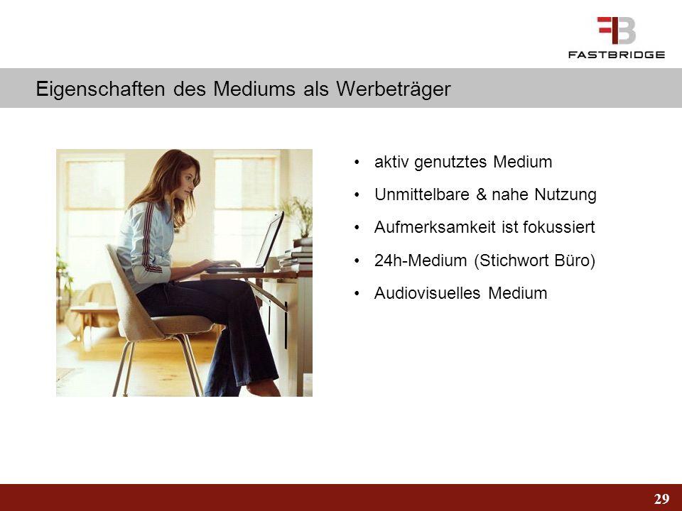 29 Eigenschaften des Mediums als Werbeträger aktiv genutztes Medium Unmittelbare & nahe Nutzung Aufmerksamkeit ist fokussiert 24h-Medium (Stichwort Bü