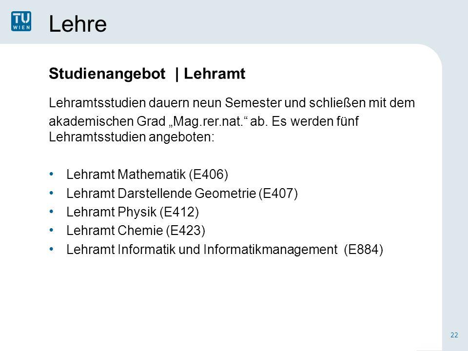 Lehre Lehramtsstudien dauern neun Semester und schließen mit dem akademischen Grad Mag.rer.nat.