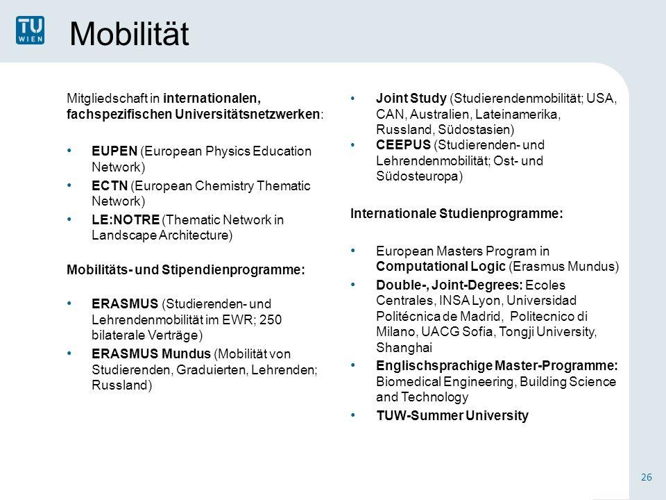 Mobilität Mitgliedschaft in internationalen, fachspezifischen Universitätsnetzwerken: EUPEN (European Physics Education Network) ECTN (European Chemistry Thematic Network) LE:NOTRE (Thematic Network in Landscape Architecture) Mobilitäts- und Stipendienprogramme: ERASMUS (Studierenden- und Lehrendenmobilität im EWR; 250 bilaterale Verträge) ERASMUS Mundus (Mobilität von Studierenden, Graduierten, Lehrenden; Russland) 26 Joint Study (Studierendenmobilität; USA, CAN, Australien, Lateinamerika, Russland, Südostasien) CEEPUS (Studierenden- und Lehrendenmobilität; Ost- und Südosteuropa) Internationale Studienprogramme: European Masters Program in Computational Logic (Erasmus Mundus) Double-, Joint-Degrees: Ecoles Centrales, INSA Lyon, Universidad Politécnica de Madrid, Politecnico di Milano, UACG Sofia, Tongji University, Shanghai Englischsprachige Master-Programme: Biomedical Engineering, Building Science and Technology TUW-Summer University