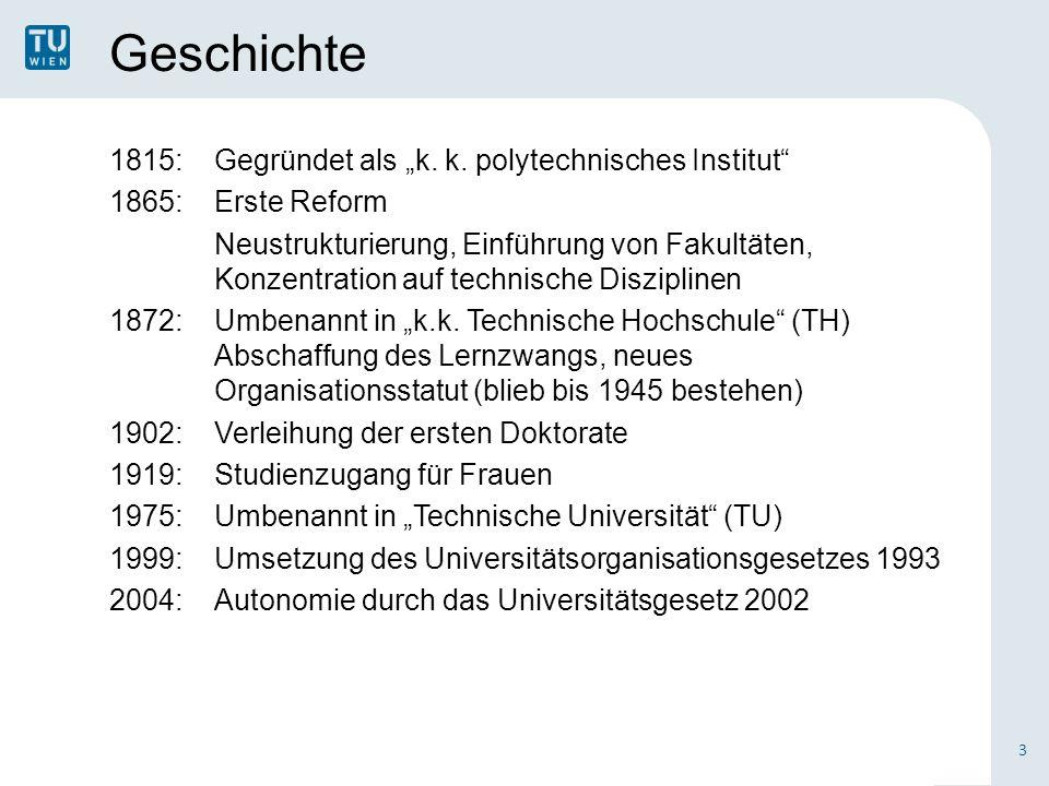 Geschichte 1815:Gegründet als k. k. polytechnisches Institut 1865:Erste Reform Neustrukturierung, Einführung von Fakultäten, Konzentration auf technis