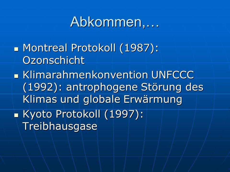 Abkommen,… Montreal Protokoll (1987): Ozonschicht Montreal Protokoll (1987): Ozonschicht Klimarahmenkonvention UNFCCC (1992): antrophogene Störung des