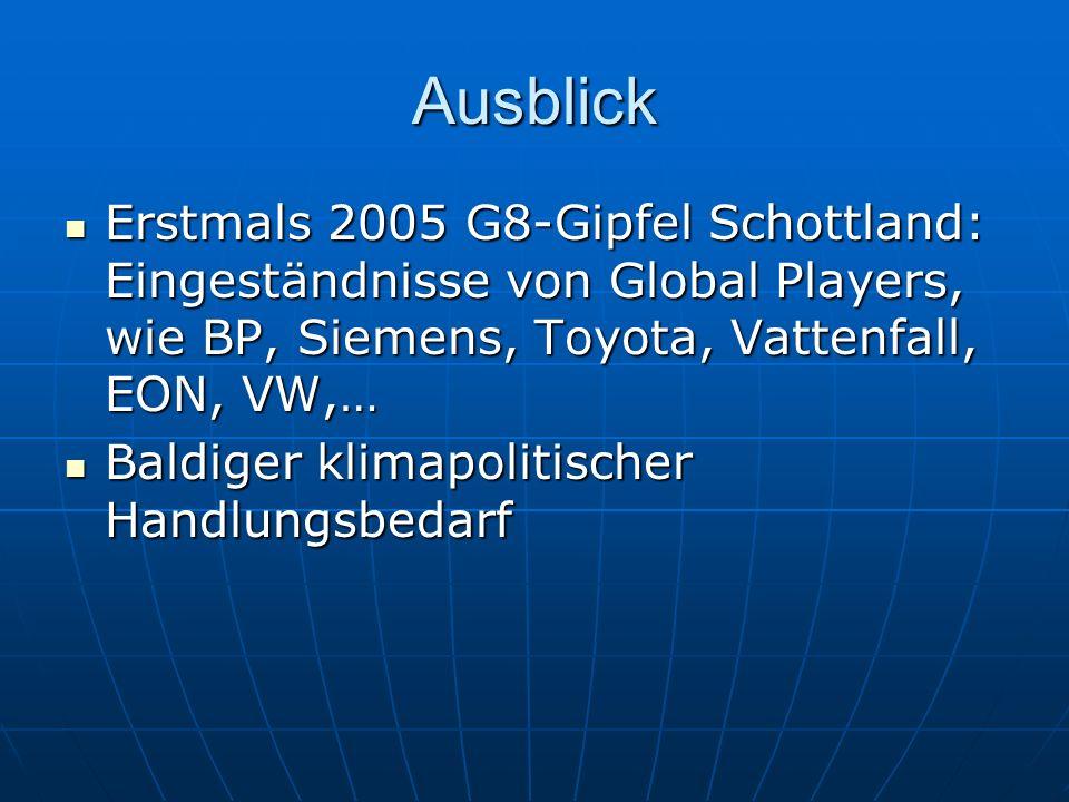 Ausblick Erstmals 2005 G8-Gipfel Schottland: Eingeständnisse von Global Players, wie BP, Siemens, Toyota, Vattenfall, EON, VW,… Erstmals 2005 G8-Gipfe