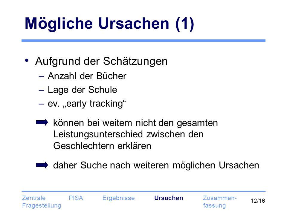 12/16 Mögliche Ursachen (1) Aufgrund der Schätzungen –Anzahl der Bücher –Lage der Schule –ev. early tracking können bei weitem nicht den gesamten Leis