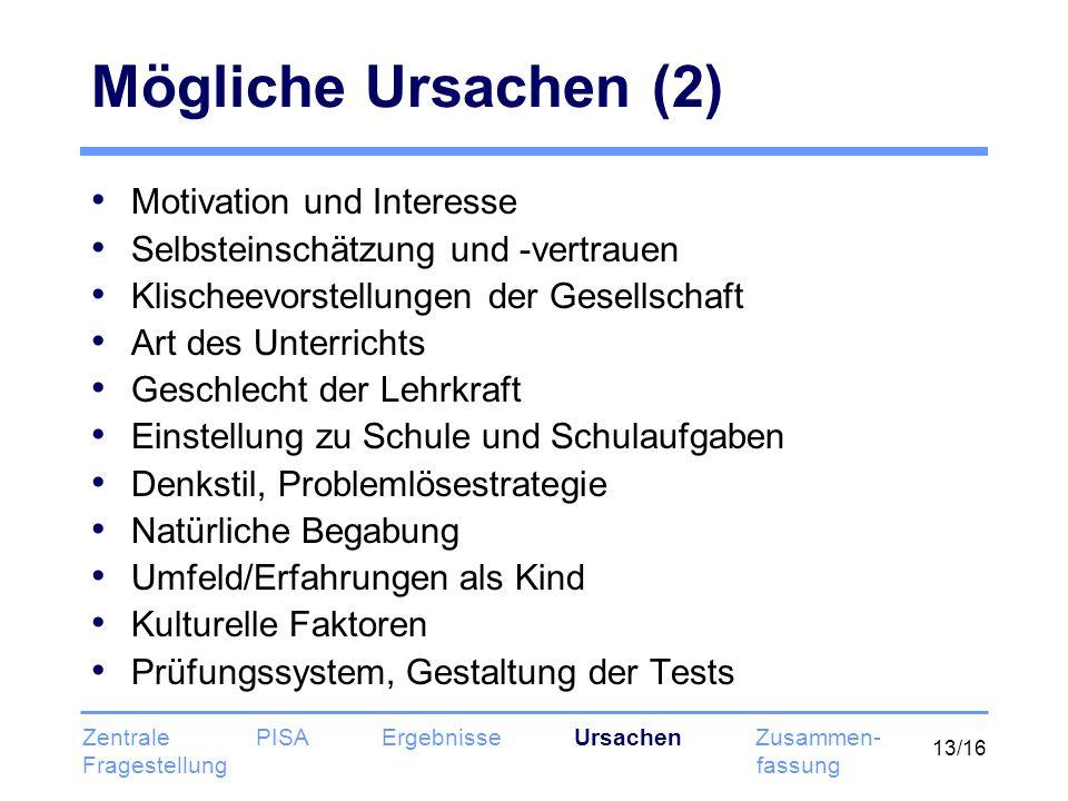13/16 Mögliche Ursachen (2) Motivation und Interesse Selbsteinschätzung und -vertrauen Klischeevorstellungen der Gesellschaft Art des Unterrichts Gesc