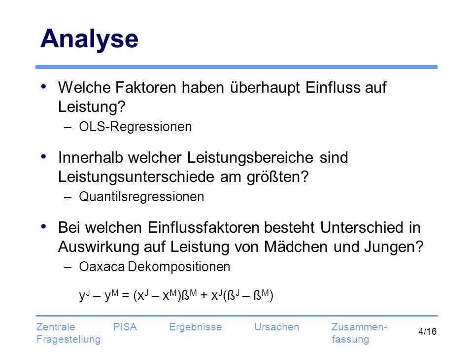 4/16 Analyse Welche Faktoren haben überhaupt Einfluss auf Leistung? –OLS-Regressionen Innerhalb welcher Leistungsbereiche sind Leistungsunterschiede a