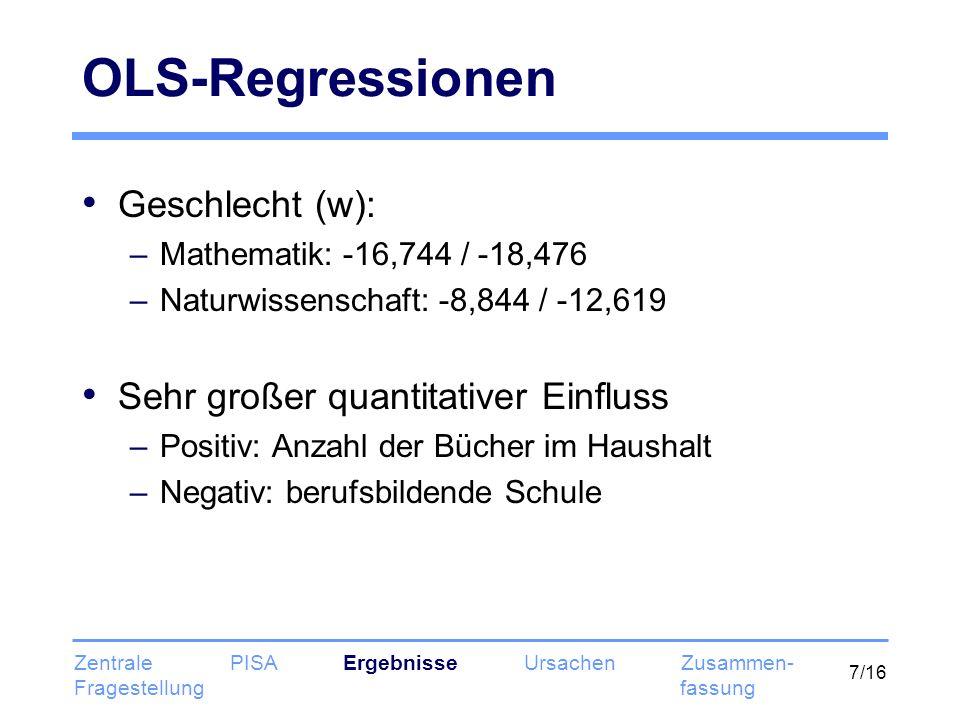 7/16 OLS-Regressionen Geschlecht (w): –Mathematik: -16,744 / -18,476 –Naturwissenschaft: -8,844 / -12,619 Sehr großer quantitativer Einfluss –Positiv: