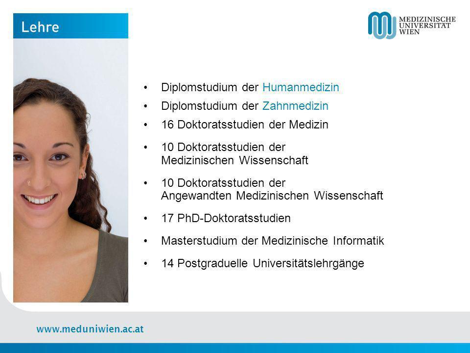 www.meduniwien.ac.at 31 Universitätskliniken und Klinische Institute 48.000 Operationen pro Jahr 100.000 stationäre Behandlungen pro Jahr 605.000 ambulante Behandlungen pro Jahr