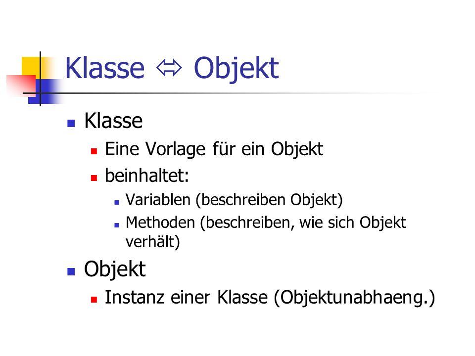 Klasse Objekt Klasse Eine Vorlage für ein Objekt beinhaltet: Variablen (beschreiben Objekt) Methoden (beschreiben, wie sich Objekt verhält) Objekt Instanz einer Klasse (Objektunabhaeng.)