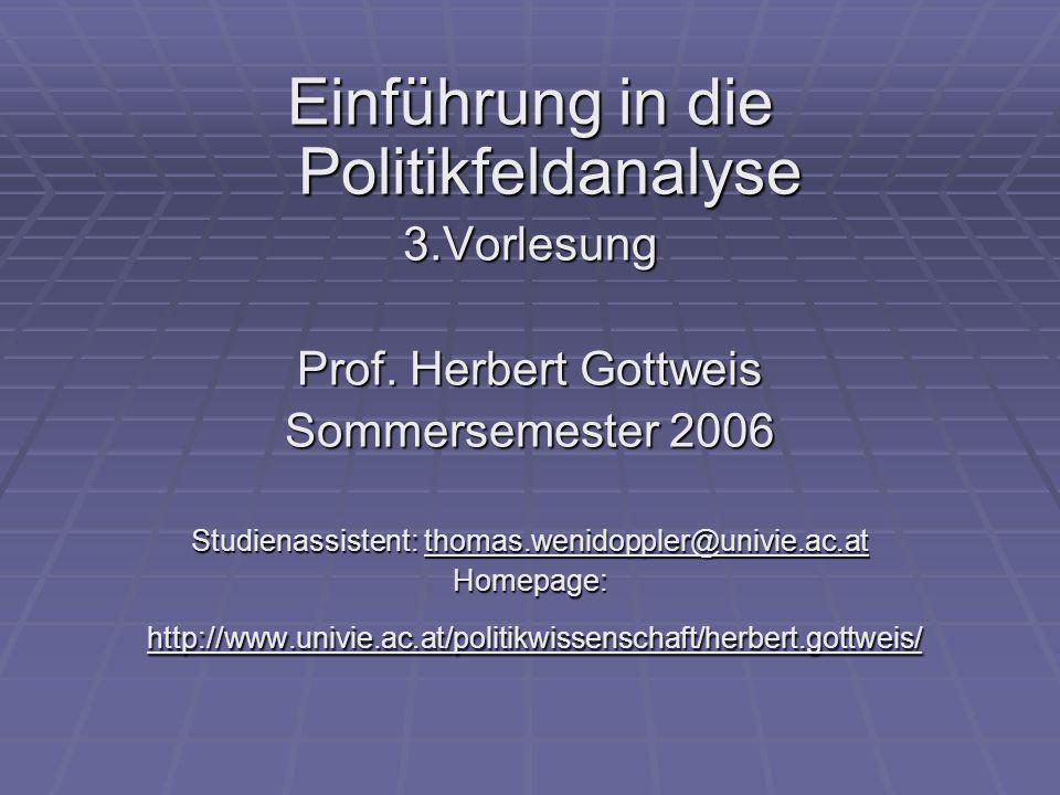 Einführung in die Politikfeldanalyse 3.Vorlesung Prof. Herbert Gottweis Sommersemester 2006 Studienassistent: thomas.wenidoppler@univie.ac.at Homepage