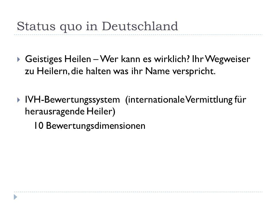 Status quo in Deutschland Geistiges Heilen – Wer kann es wirklich? Ihr Wegweiser zu Heilern, die halten was ihr Name verspricht. IVH-Bewertungssystem