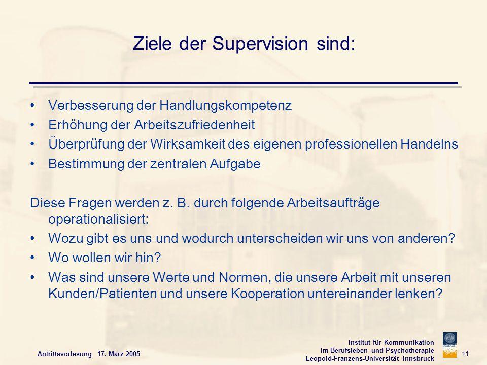 Institut für Kommunikation im Berufsleben und Psychotherapie Leopold-Franzens-Universität Innsbruck Antrittsvorlesung 17. März 2005 11 Ziele der Super