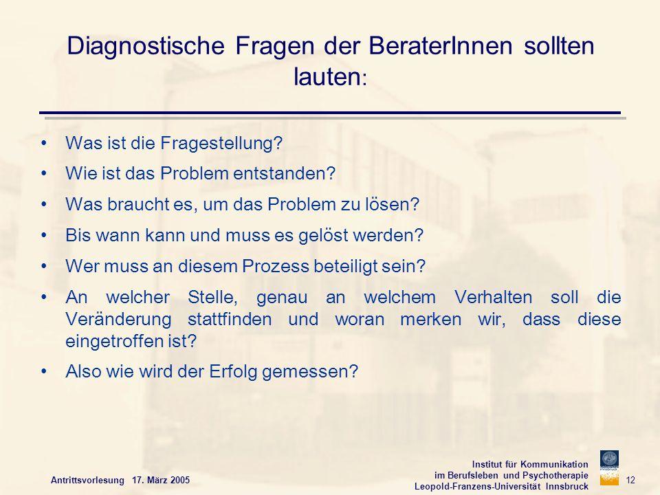 Institut für Kommunikation im Berufsleben und Psychotherapie Leopold-Franzens-Universität Innsbruck Antrittsvorlesung 17. März 2005 12 Diagnostische F